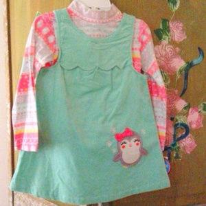 Toddler Girl's Corduroy Mint Dress 2T & 4T